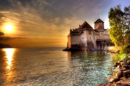 Chateau at Sunset - Chateau, Sunset, Ocean, Nature