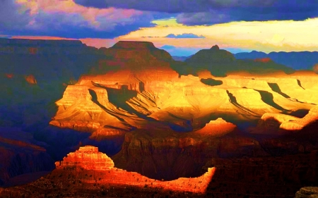 View from the South Rim, Grand Canyon - arizona, sky, sunshine, usa, clouds, mountains