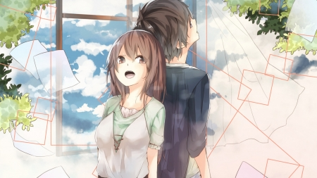 lovers - summer, boy, girl, anime