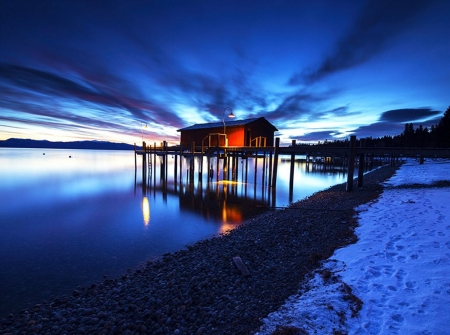 Culmination - Lake Tahoe - cabin, snow, water, winter, evening, clouds, reflections