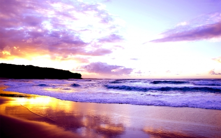 Purple Beach - Sea, Beach, purple, Nature