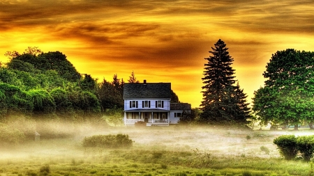 white house in morning mist hdr - house, hdr, morning, white, trees, field, mist