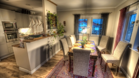 lovely little dining room hdr - table, ship, dining, chairs, hdr, room