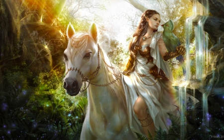 Elf And White Horse 3d And Cg Abstract Background Wallpapers