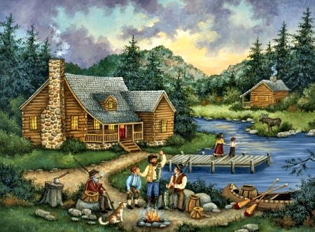 Fishing Tales F1 - architecture, art, cottage, beautiful, lake, artwork, boat, painting, wide screen, scenery, landscape, fishing