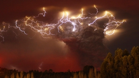 Fury in nature - red, eruption, pyroclastic, explosion, stormy, lightning, monochromatic, volcanic, nature, dust