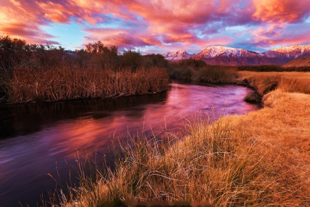 Owens River Sunrise, Eastern Sierras, California - landscape, colors, water, sky, clouds, reflection
