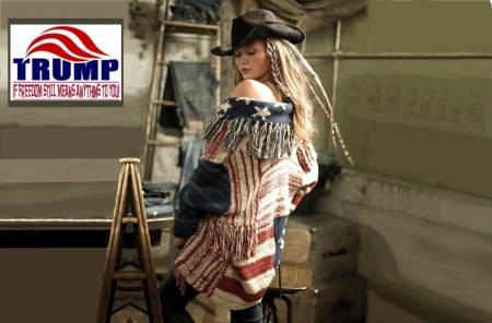 American West.. - female, models, hats, cowgirl, trump, ranch, fun, flag, women, americana, girls, fashion, blondes, western, style