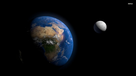 earth and the moon - moon, planet, earth, space
