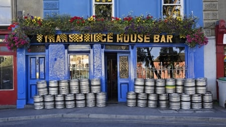 kegs outside an irish pub - pub, sidewalk, flowers, kegs, blue