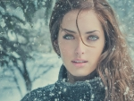 Beautiful sexy eyes in the snow