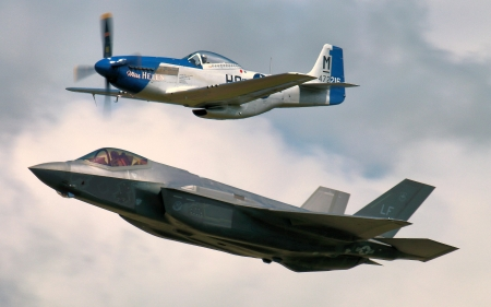 WW2 P51 Mustang and F35 Fighter Jet - f35, p51, military, aircraft