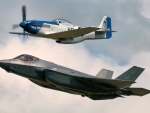 WW2 P51 Mustang and F35 Fighter Jet