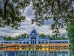 beautiful wedding hall by a lake hdr