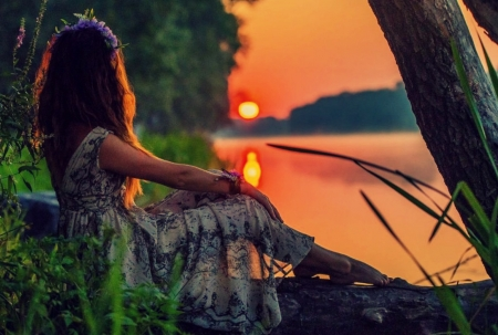 My secret place ♥ - photography, girl, summer, beauty, beautiful, sunset, woman, lake