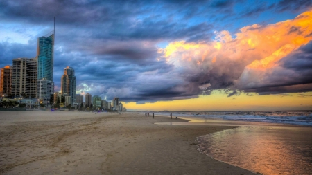 beautiful gold coast beach hdr - beach, sky, city, sea, people, clouds, hdr