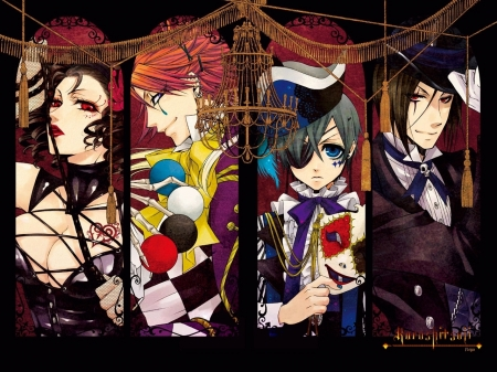 Book of Circus - phantomhive, book of circus, joker, sebastian, michaelis, kuroshitsuji, demon, beast, black butler, ciel