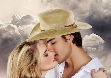 ☜❤☞ - cowgirl, kiss, couple, love