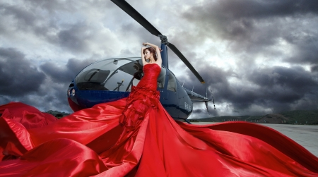 Beauty - red, cloud, model, helicopter, sky, woman, girl, dres, asian
