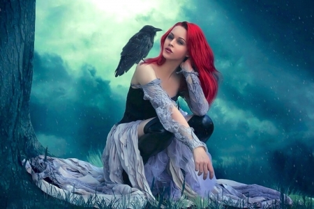 Magica  - pretty, fantasy, redhead, Female, crow, woman