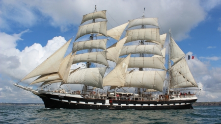 Sailing Ship - open ocean, ocean, sailing, sky, old, clouds, sea, boat, water, ship, vintage