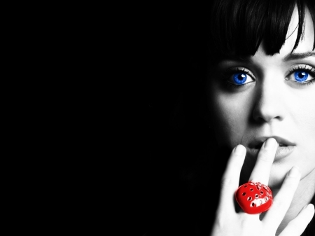 Woman with a red ring - ring, eyes, woman, fingers