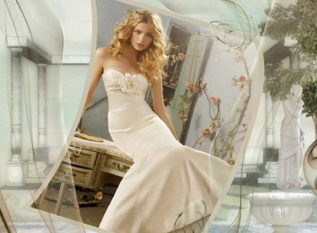 Sensual in White - statues, strapless, honey blonde, columns, white dress, posing on old desk