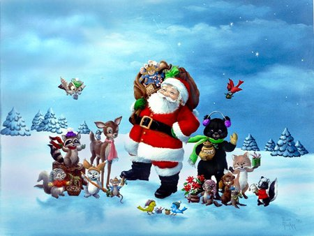 Santa Claus - red, holidays, christmas, x-mas, xmas, santa claus, winter, cold, santa, merry christmas, love, feast, penny parker, animals, blue