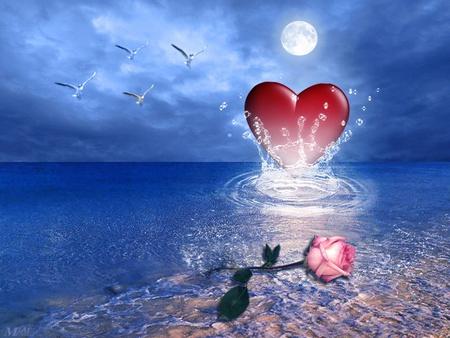 Heart Of The Ocean - ocean, sky, water, heart, bird, flower, animal, rose, moon, sea, love