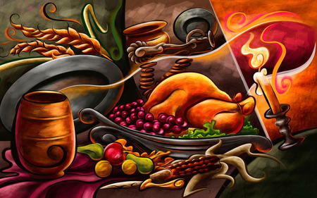 Thanksgiving Day - thanksgiving day, food, painted meal