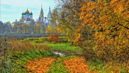 beautiful churches in bucolic russia hdr - autumn, puddle, churches, hdr, trees, tracks