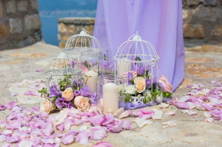 Beautiful Lanterns ♥ - lilac, candle, lantern, rose, beautiful, roses, wedding, photography, summer, flowers, petals