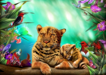Leopards - family, leopards, woods, colors, love four seasons, birds, butterflies, creative pre-made, big wild cats, flowers, bears, forests, butterfly designs, animals