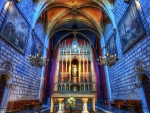gorgeous blue brick church hdr