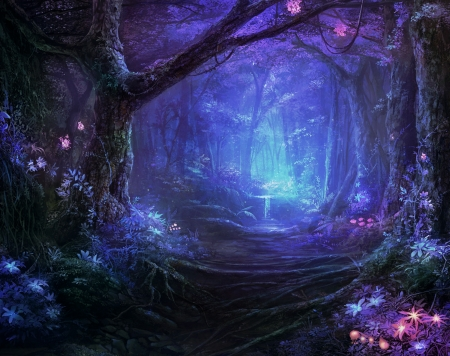 Magical Forest - forest, flowers, magical, beautiful, blue