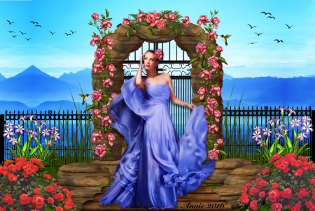 Gateway to Paradise - colorful, beautiful, woman, elegant, gateway, fantasy, arch, mountains, lady, flowerroses