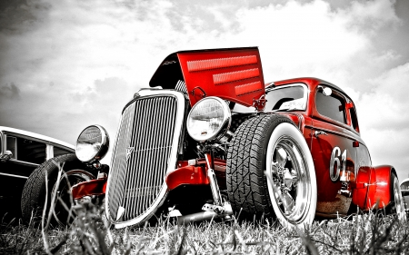 Hot Rod 61c - red, custom, hot rod, car