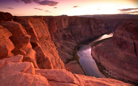 a river in a canyon - cool, nature, river, fun, canyon