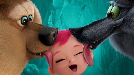 Storks (2016) - storks, movie, smile, baby, kiss, tongue, animal, cute, green, animation, copil, child, funny, wolf, pink, pack