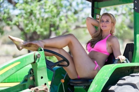 Who Cares What Day It Is.. - female, models, cowgirl, ranch, tractors, fun, outdoors, women, john deere, girls, fashion, blondes, western, style