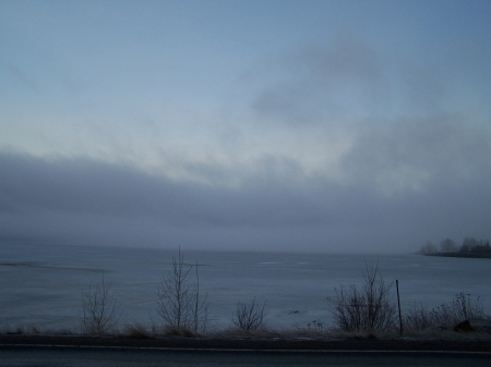 Misty morning on the Lake SH-3 near Harrison, Idaho - Scenic, Sky, Nature, Lakes
