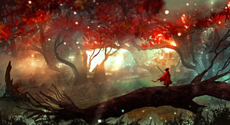 Sacred Journey - forest, fall, autumn, fantasy, warrior, magic, landscape