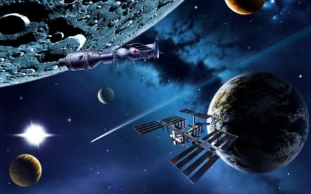 space stations near planets - moon, planet, station, space