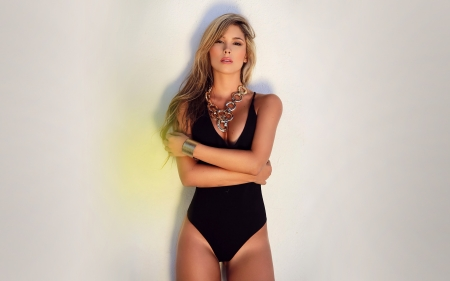 Juliana Velez - latina, models, simple background, Juliana Velez, bathing suit, blondes