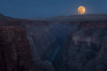 full moon - fun, cool, canyon, moon, river, nature
