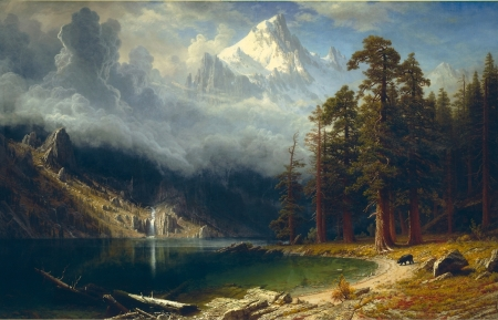 Albert_Bierstadt_-_Mount_Corcoran - art, river, painting, tree