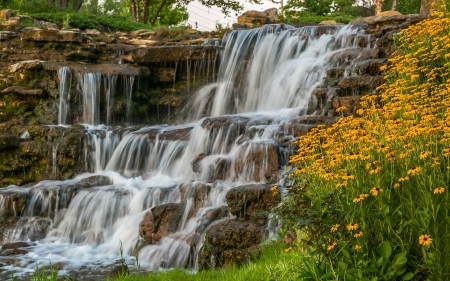 Spyglass Falls - flowers, waterfall, rocks, nature