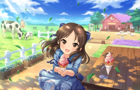 Ice Cream - cone, pretty, dress, house, scenic, hd, home, country side, beautiful, adorable, undry side, sweet, countryside, farm, nice, anime, icecream, beauty, anime girl, female, cloud, cow, lovely, ice cream, food, sky, cute, kawaii, girl, lady, scene, maiden