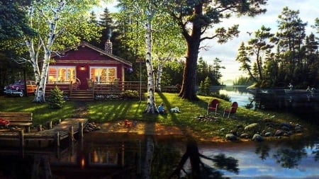 Grandpa's Lake House - rowboat, house, timeless, children, home, cabin, lake, dock, Firefox Persona theme, fishing