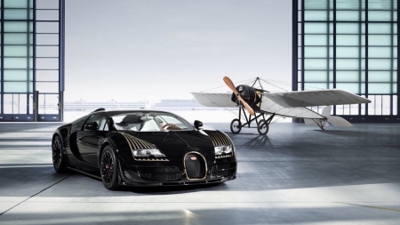 Bugatti Veyron Grand Sport Vitesse - plane, bugatti, car, black, sports, luxury, fast